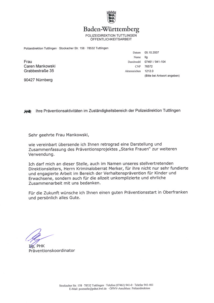Refrenz: Polizeidirektion Tuttlingen 01